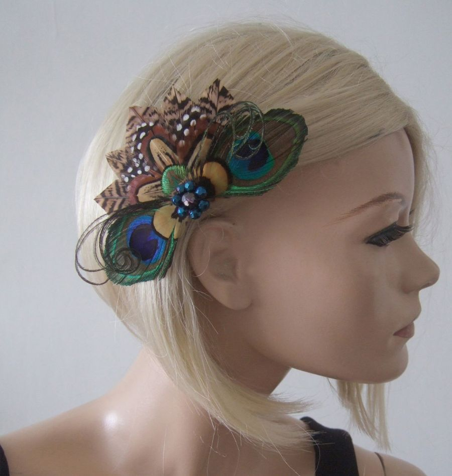 "Peacock Pheasant Brown Cream Nudes Feathers Fascinator Hair Clip ""Ginny"""